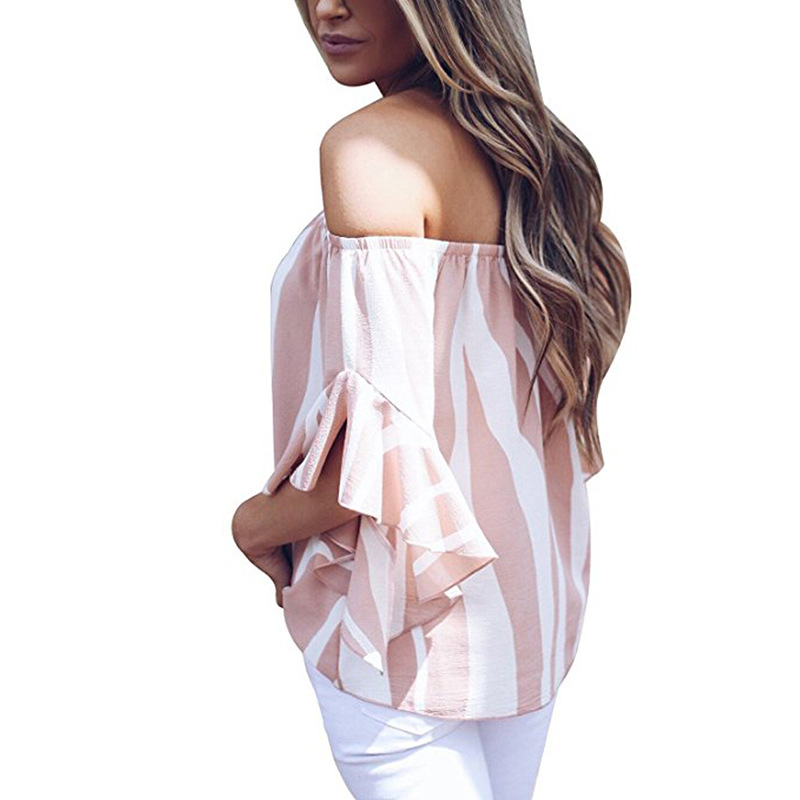 LOSSKY Women's Striped Chiffon Shirts Blouse Sexy Off Shoulders Bandage Women Casual Blusas Shirt 2018 Summer Loose Elegant Tops 16