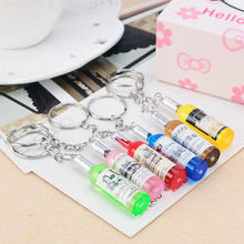1PC Hot Random Color Beer Bottle Key Chain Pendant Fashion Personality Mobile Chain For Women Men Car Bag Keyring Accessions(China)