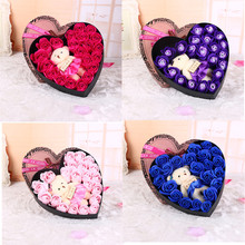 Romantic Bear Rose Soap Flower Heart Shaped Box Never Fades Creative Gift Box for Christmas Valentine's Day