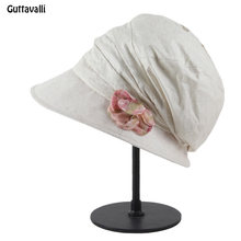 0871df080be8c Guttavalli Novas mulheres Primavera sólida cap linda flor vezes bege verão  cartas de algodão chapéus de