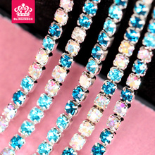 SS6  2mm  10 Yard Colorful Close Rhinestone Cup Chain With Metal Claw ,Rhinestone Trimming for DIY,Garment Accessories Y2295