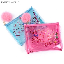 sequins women's bag 2017 transparent clutch handbag tassels envelope bag fashion women jelly bag pvc clear clutch evening purse(China)