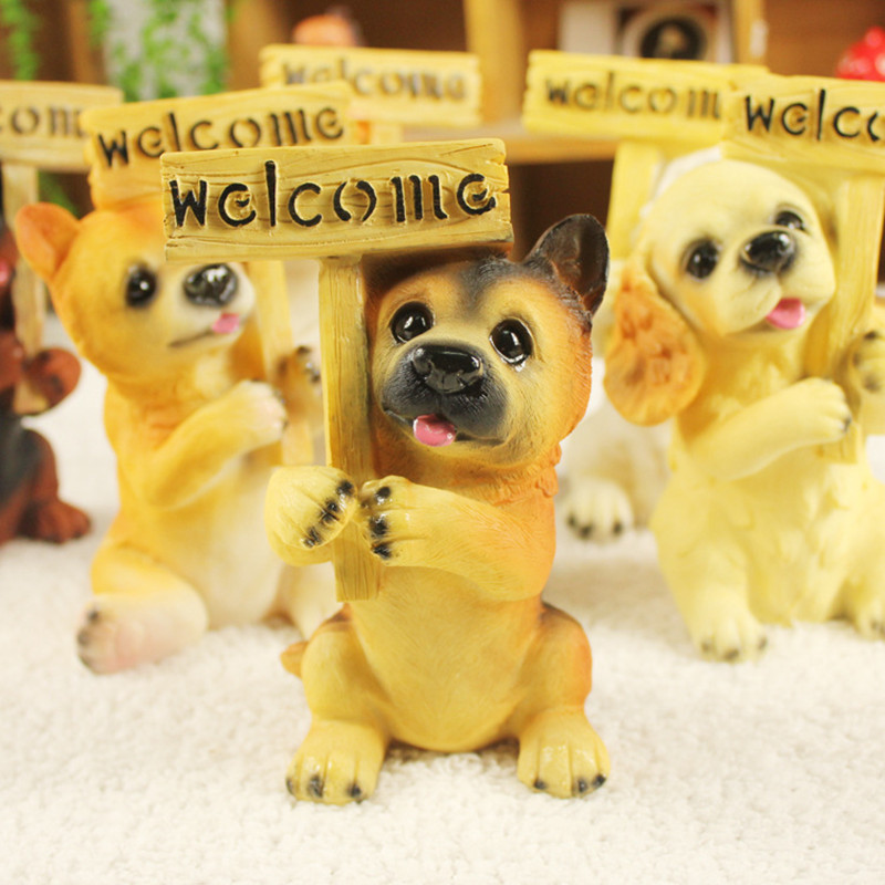 Cute holding welcome dog resin figure,doggy toy,room home decorations birthday gift puppy lovely bulldog poodle pet lover fans<br><br>Aliexpress