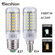 Elecshion LED E27 E14 Bulbs Tubes Lamp Light Source AC 220V LED Corn Candle Lights for Home SMD 5730 Daytime Running Chandelier