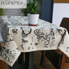 Cotton Linen Table Cloth Country Style Map Printed Multifunctional Rectangle Table Cover Tablecloth Home Decoration for Kitchen