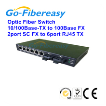Ethernet to Fiber media converter 10/100Mbps 2FX to 6TX Multimode Duplex 6UTP RJ-45 to SC Connector(China)
