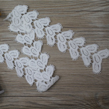 6cm width white lace embroidered net cotton tassel lace fabric/ DIY feathers garment fabrics/love heart Craft materials cloth