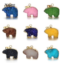 5PCS Cute Natural Polar Bear Druzy Quartz Crystal Stone Animal Pendant Gold Filled for Fairy Jewelry Necklace Making Wholesale