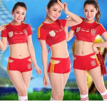 European Cup Sexy red football Cheer baby cheerleader sex products costume dancer clothes crop top shorts(China)
