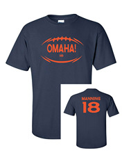 Short Sleeve Round neck Top Tee OMAHA Peyton Manning #18 Broncos Men's Tee Shirt- XL Navy (721 front&back) T shirt(China)