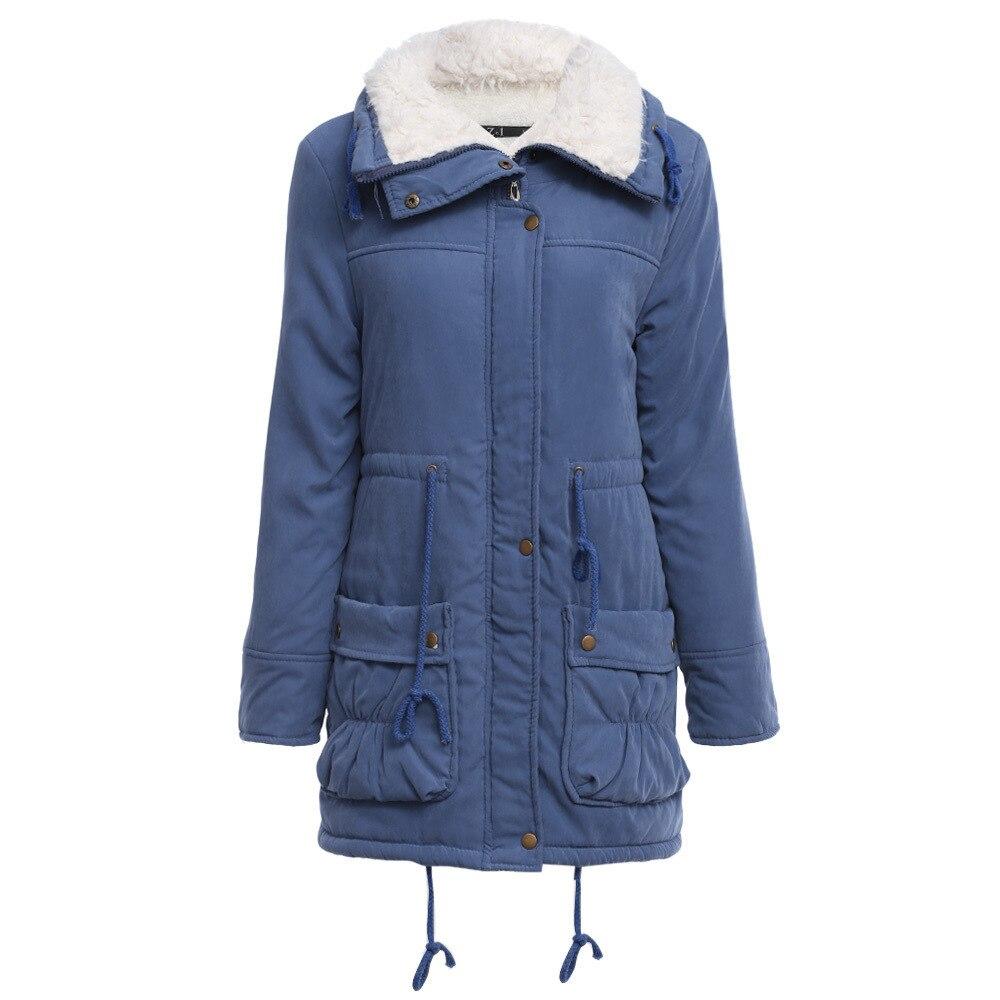 Women Causal Parkas Mujer 2017 Winter Slim Long Sleeve Hooded Medium Long Padded Jacket Causal Wool Liner Coat Casaco FemininoÎäåæäà è àêñåññóàðû<br><br>