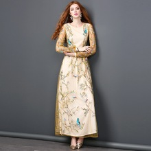 Top Quality Fashion New 2017 Summer Party Wedding Women Long Dress Ladies Allover Gauze Embroidery Long Sleeve Maxi Dress Formal