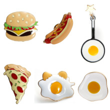 1 PC Creative Food Pin Badges Icons for Shirts Hamburger / Pizza / Hot Dog / Poached Egg / Pan Sweater Clips Backpack Decoration