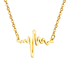 Fashion Hot Valentine's Day Heart Beat Cardiograph Pendant Necklace Chain Stainless Steel Necklaces