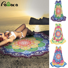 2017 New lotu Fashion Round Beach Towel Polyester Printed Towel Yoga Cushion Beach Towel Mat Outside Beach Summer Towel