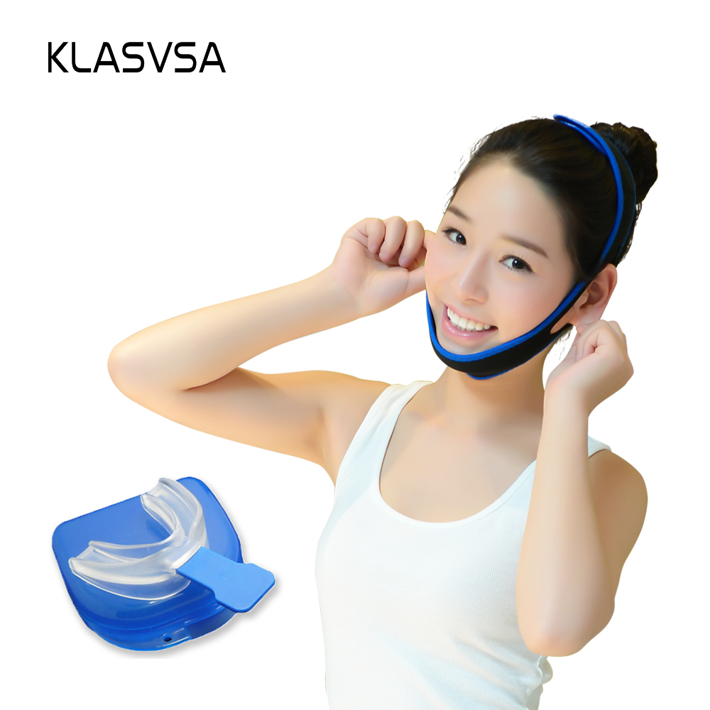 Image Anti Snoring Chin Strap Belt Jaw Supporter Nasal Strips CPAP+Stop Snoring Solution Mouth Piece Sleep Apnea Night Guard TMJ