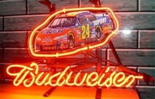"NEON SIGN board For Budweiser Autographed Nascar #24 Racing Car GLASS Tube BEER BAR PUB store display Shop Light 17*14""(China)"