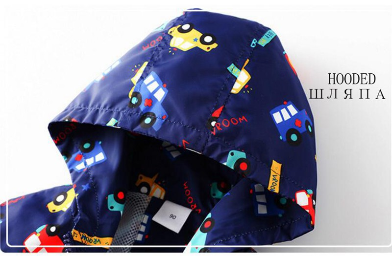 COOTELILI 80-130cm Cute Car Printing Kids Boys Jacket 2018 Spring Hooded Children Clothes Active Girls Windbreakers  (2)
