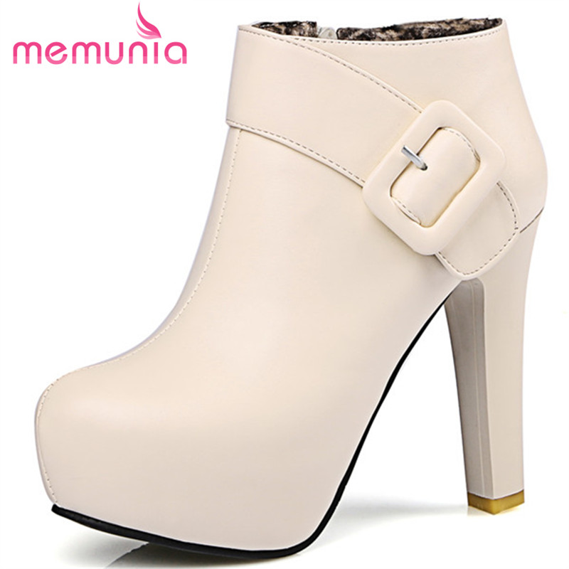 MEMUNIA Ankle boots for women high heels shoes autumn winter boots PU soft leather platform fashion shoes big size 34-43<br>