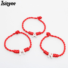 ISINYEE Fashion Red String Thread Lucky Bracelets Crystal English Alphabet Charms for Women Lover Handmade Rope Cable Jewelry(China)