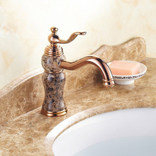 Free Shipping DONA Sanitary ware Brass rose gold bathroom faucet with deck mounted golden stone bathroom basin faucet