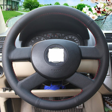 Black Leather Car Steering Wheel Cover for Volkswagen VW Polo 2003-2006 Old Golf 5 Jetta 5 MK5 Tiguan 2007-2011