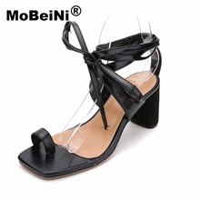 MoBeiNi Summer New Women Sandals Rough with Cross straps Square head toe Ankle Strap Roman high heels sexy fashion shoes