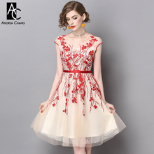 spring summer runway designer womans dress beige gauze dress red flower embroidery high quality S-XXL party dress ball gown