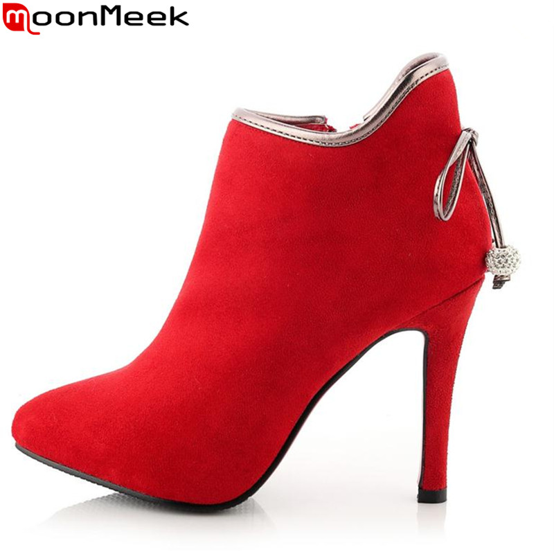 MoonMeek Flock nubuck leather stiletto high heels women boots winter bowknot unique sexy elegant autumn winter ankle boots<br>