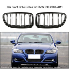 Pair of Gloss Black Car Front Grille Grilles with Double Line for BMW E90 2008-2011
