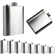 4/5/6/7/8/9/10/18 Oz Stainless Steel Pocket Hip Flask Alcohol Whiskey Liquor Screw Cap portable wine pot flagon drop ship sale
