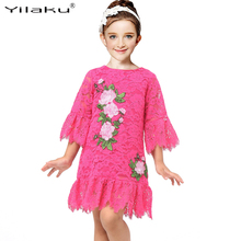 Yilaku Girls Lace Embroidery Dresses Medium Sleeve Princess Dresses Spring Summer Party Vestido Kids Costume For girls CA484(China)
