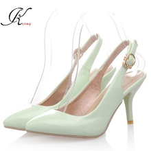 KSJYWQ 2017 Summer Style 5 cm heels Mint green Women Pumps Plus size 43 Sexy girls Large shoes Woman Cheap online store 9040(China)