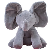 Stuffed Animals Plush Toys 30cm Peek A Boo Elephant Electronic Sing Song Play Hide And Seek Elephant Children Kid Baby Soft Doll(China)