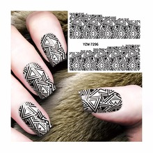 LCJ Water Decal Nail Water Transfer Black Triangle Women Styles  Nail Sticker Stamping For Nail Art Stamp 7296