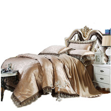 2017 Luxury Embroidery Tencel Satin Silk Jacquard Bedding Sets golden pink bedsheet Cotton Queen King size 4pcs/6pcs cover gift