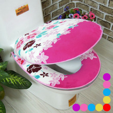 2Pcs/Set Bathroom Flower Coral Fleece Warmer Toilet Set Zipper Potty Waterproof Toilet Seat Cushion Bath Mat Toilet Seat Cover(China)