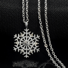 Fashion Charms lady Crystal Snowflake Zircon Flower Silver Plated Necklaces & Pendants Jewelry for Women Sweater necklace(China)