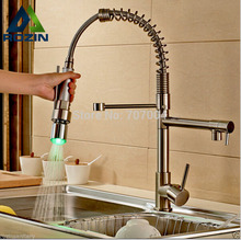 LED Light Pull Down Kitchen Sink Faucet Single Handle Dual Spout Spring Kitchen Mixer Taps Brushed Nickel(China)