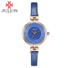 Women simple fashion casual leather watch Girl love pretty round quartz clock time Original genuine brand Julius 864 Water proof
