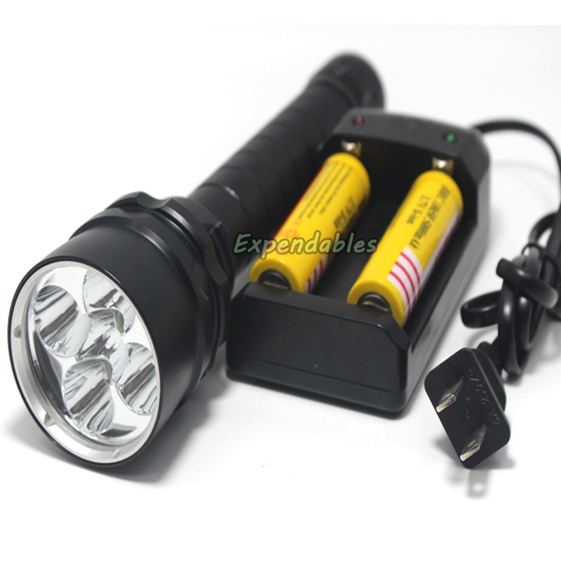 High Power8500 lumen 5*XM-L2 LED Underwater Diving100m Flash Light LED Dive Torch Waterproof camping Light Lamp +battery charger<br>