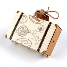 ourwarm 10pcs Europe Suitcase Candy Box Wedding Favors Travel Paper Gift Boxes with Card & Burlap Birthday Event Party Supplier(China)