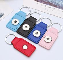 4pcs/lot Wholesale Fashion Jewelry mix colors square shape Leather Keychain 18mm Snap Button Keyring For Men