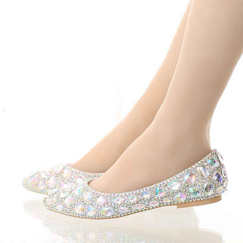 Luxury Pointed toe bridal shoes colorful rhinestone flat shoes shallow  mouth flat heel wedding shoes crystal f43459118051