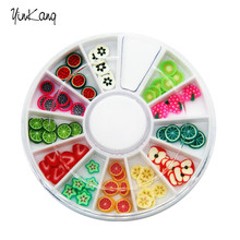 DIY Nail Art Wheel Decoration Fruit shaped Slices 3d Polymer Clay Tiny Fimo Nail Art Beauty Design Manicure Tools