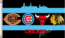 3X5FT ALL Chicago Bears Blackhawks Bulls UBS flag 100D digital printing free shipping decorative banners(China)