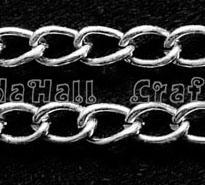 Twist Aluminum Chain, Oxidated in Silver, Link: 4x5.2mm
