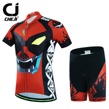 Lad Reflective Cycling Sets Kid Bicycle Biking Clothing Cartoon MTB Jerseys And Breathable Pad Shorts Children Wear