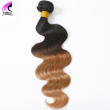 Vallbest Brazilian Body Wave Ombre Hair Weave Human Hair Bundles 1B/27 Color 2 Tone Non Remy Hair Weave Can Be Curly and Dyed
