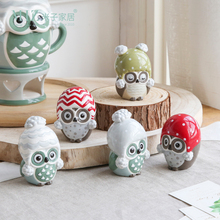 Miz 1 Piece Home Decoration Accessories Owl Figurine Birthday Gift for Children Small Animal Figure Ceramic Doll(China)